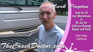 mark p 34 foot mothorhome damage repair and paint job video photo review from www.thecrashdoctor.com