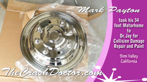 rechromed wheels from 34 foot fleetwood motorhom collision repair and paint video from www.thecrashdoctor.com