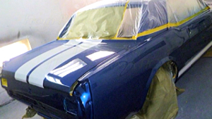 1965 classic mustang being painted