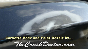 corvette front bumper repair body work by www.thecrashdoctor.com