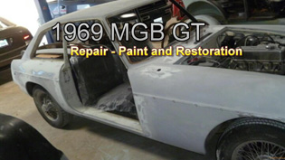 MGB GT Primed before photo from www.thecrashdoctor.com