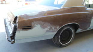 73 Ford LTD Before close up side www.thecrashdoctor.com