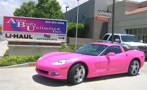 Angelyne and her corvettes painted by auto body unlimited inc angleynes new 2008 corvette sciox Images