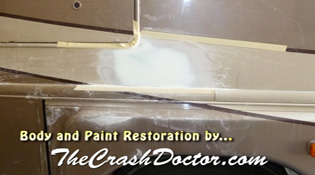 motorhome side damage paint repair from www.thecrashdoctor.com