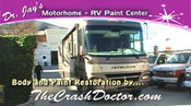 large 35 foot motorhome body repair and paint restoration video photo from www.thecrashdoctor.com