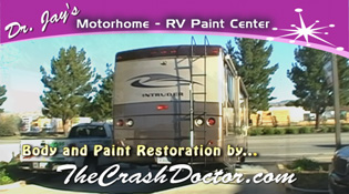 rear of 35 foot motorhome after repair damage and paint work from www.thecrasshdoctor.com