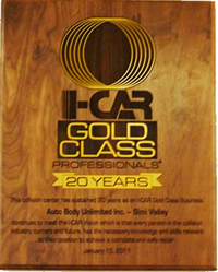 I-CAR 20 year gold class award for auto body unlmited inc. Jay Schoen www.thecrashdoctor.com photo